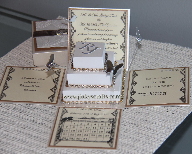 Lace Exploding Box Wedding Invitations w/ Square Cake ...