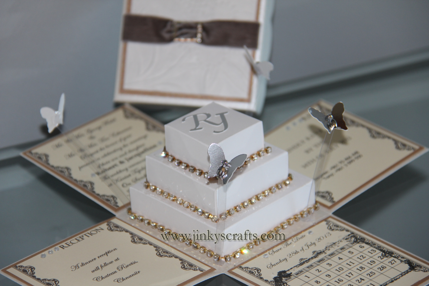 Lace Wedding Exploding Box Invitation With 3 Tier Square