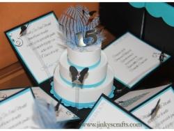 Black & Turquoise Quinceanera Invitation