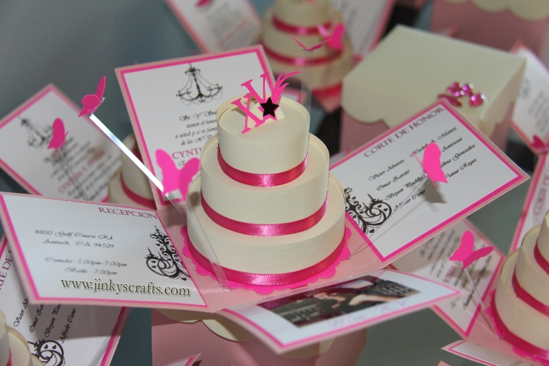 Pink and Creme Exploding Box Invitations