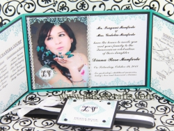 Gatefold Tiffany Quinceanera Invitation