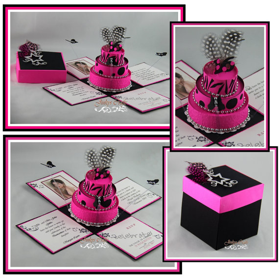 18th birthday exploding box invitation kit jinkys crafts hot pink black 18th birthday exploding box invitations filmwisefo