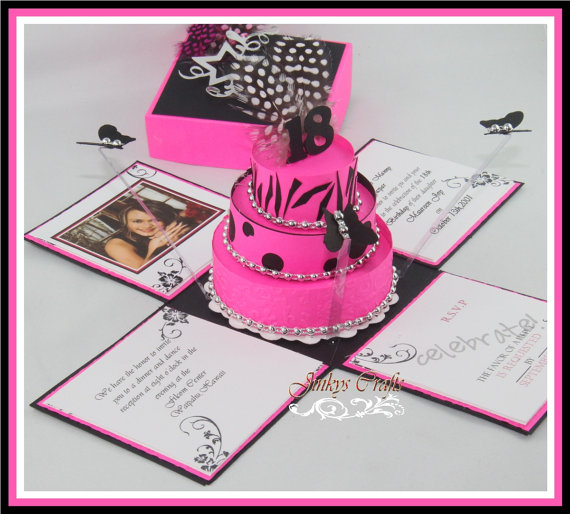 Hot Pink Black Exploding Box Invitations