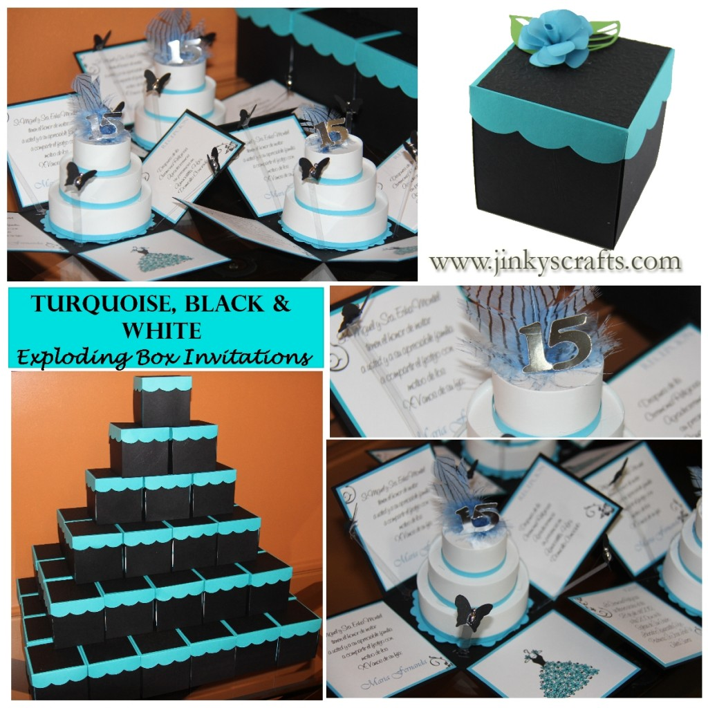 Black White And Turquoise Wedding Cake