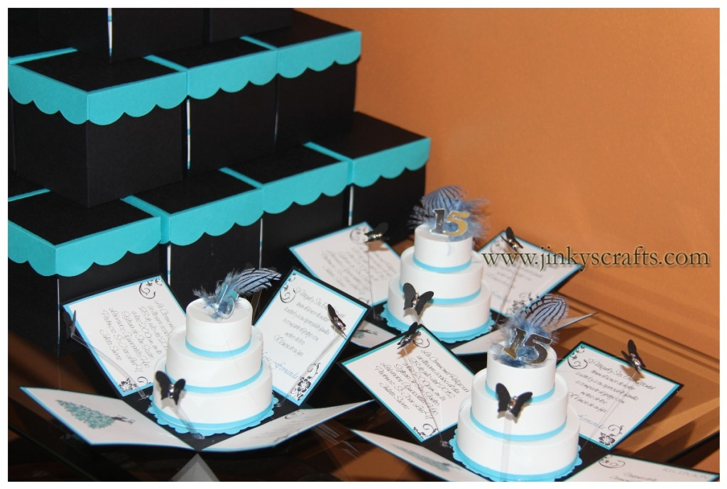 BLACK TURQUOISE WHITE POP UP INVITATIONS
