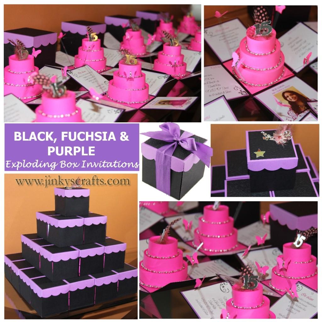 Purple fuchsia black mis quince exploding box invitation mis quince box invitation purpleblack fuchsia stopboris Images