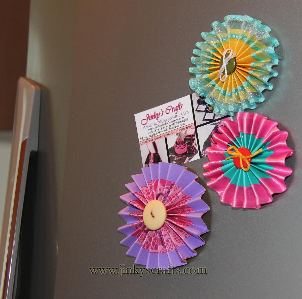 Pinwheel Spring Rosette Magnets