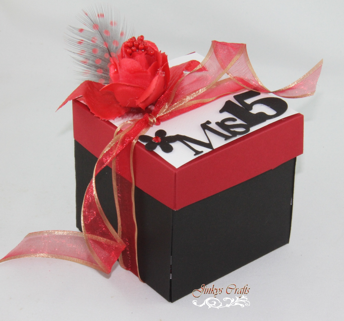Red & Black Mis Quince Exploding Box Invitation - Jinkys Crafts