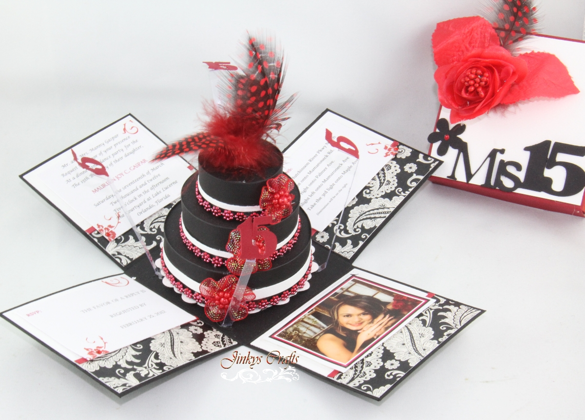 Red Black Mis Quince Exploding Box Invitation Jinkys Crafts