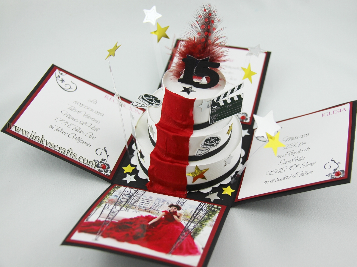 Hollywood Theme Exploding Box Invitations - Jinkys Crafts