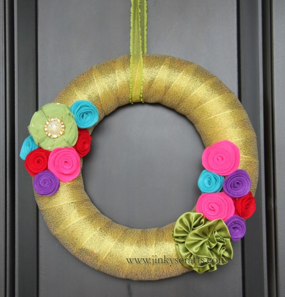 Christmas Felt Rosette Wreath