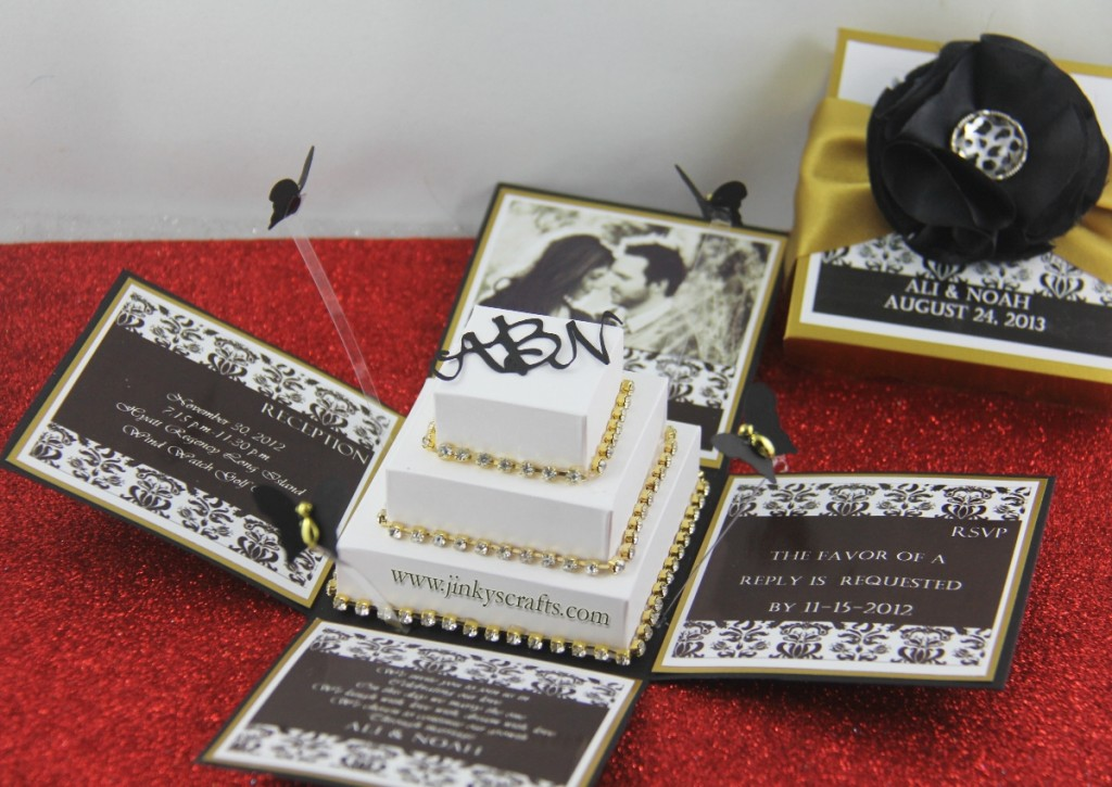 Black Gold Damask Exploding Box Wedding Invitation Jinkys Crafts