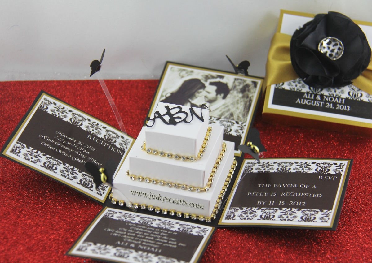 Black & Gold Damask Exploding Box Wedding Invitation - Jinkys Crafts