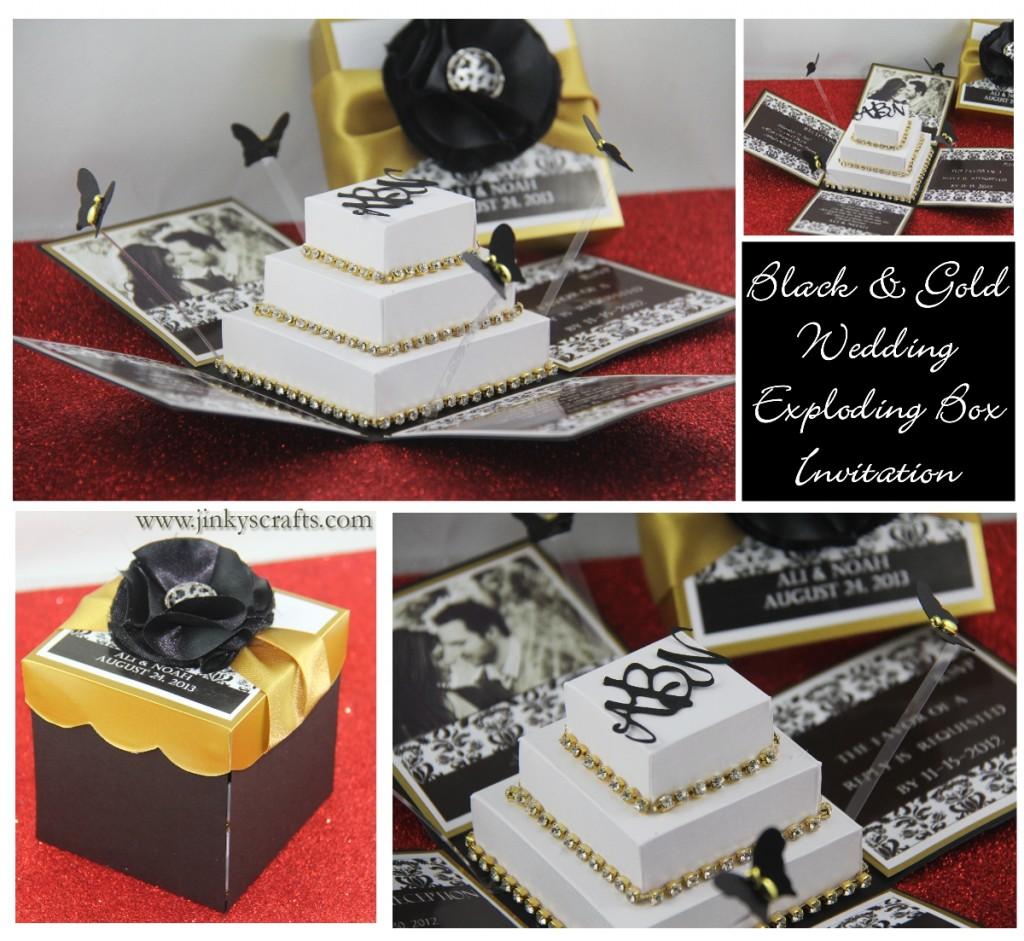Black gold damask exploding box wedding invitation for 3d wedding invitations glasses