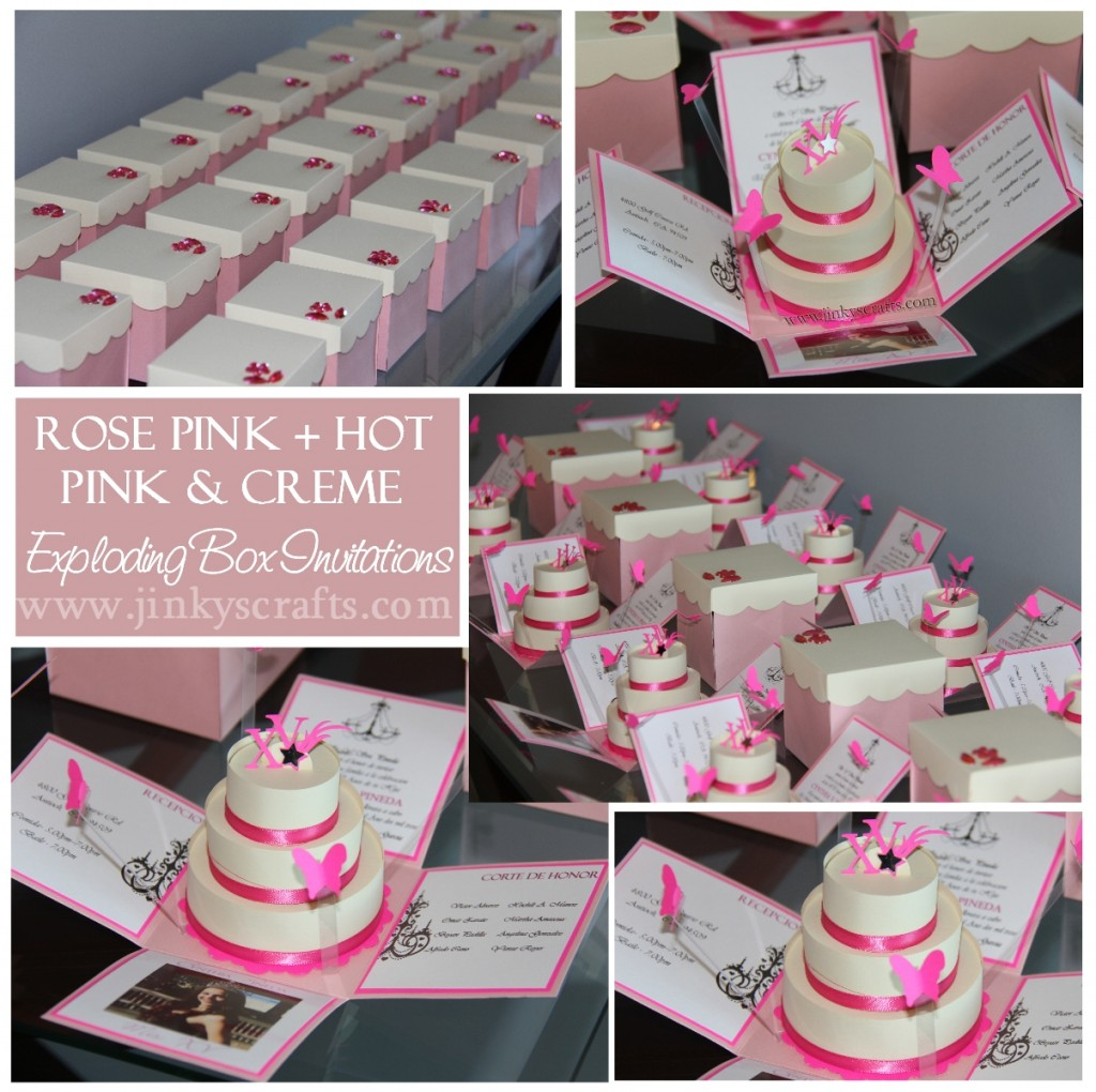 Pink & Creme Mis Quince Exploding Box/ Pop-Up Invitations ...