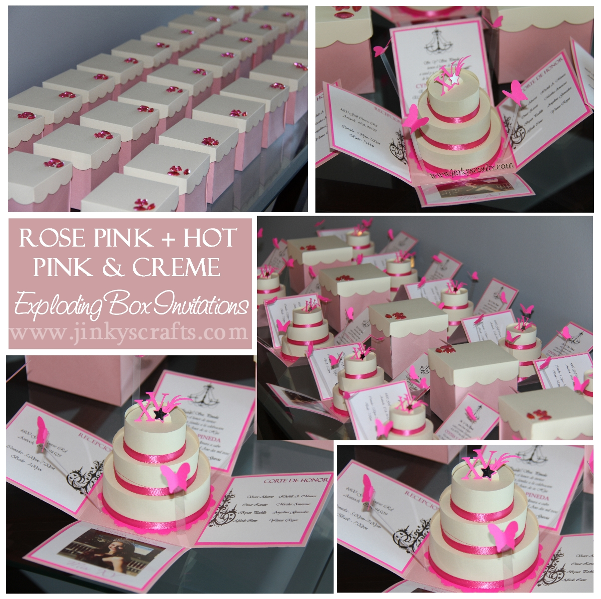 This Exploding Box Photo Album Is So Unique And Amazing: Pink & Creme Mis Quince Exploding Box/ Pop-Up Invitations