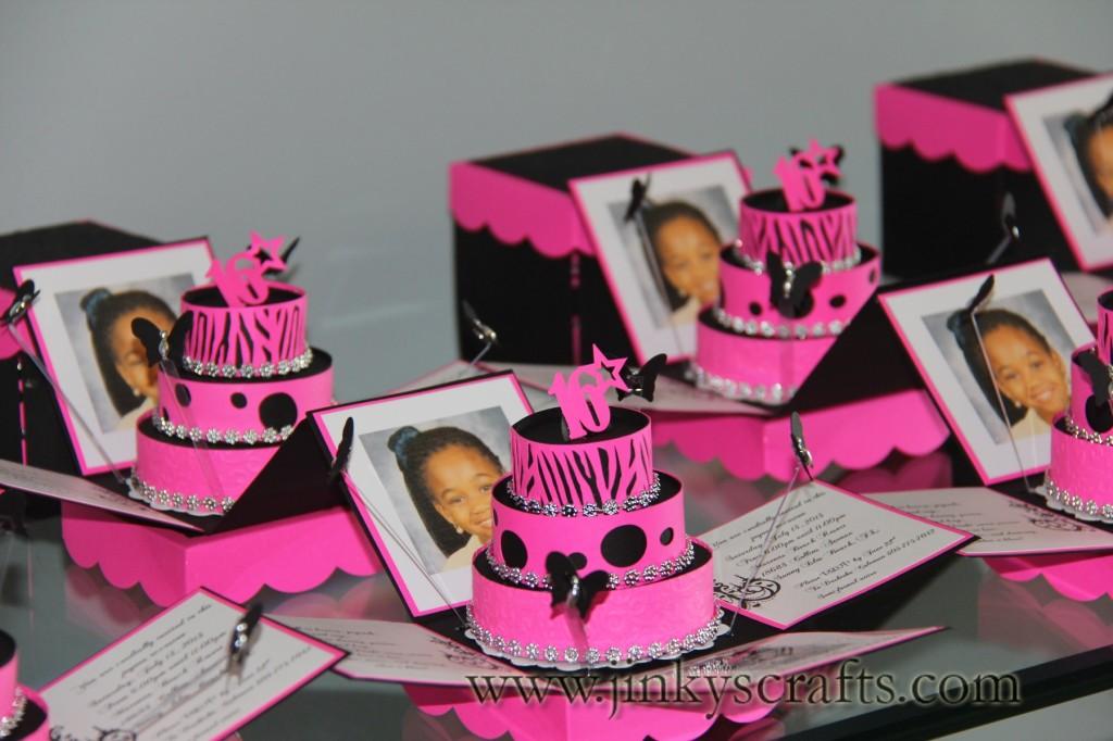 Zebra Print Exploding Box Invitations - Jinkys Crafts