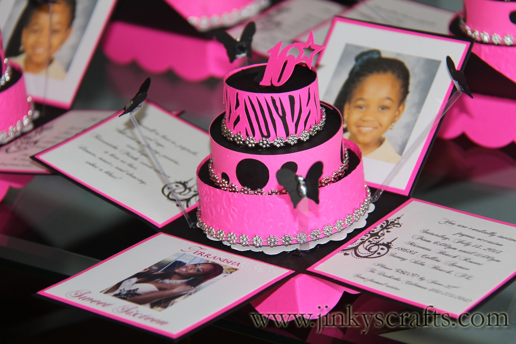 Hot Pink & Zebra Print Exploding Box Invitations