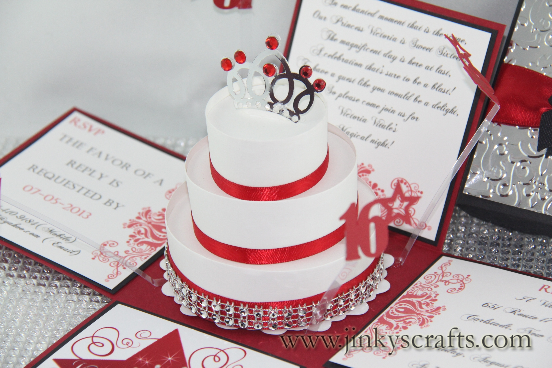 Red, Black & Silver Exploding Box Invitations