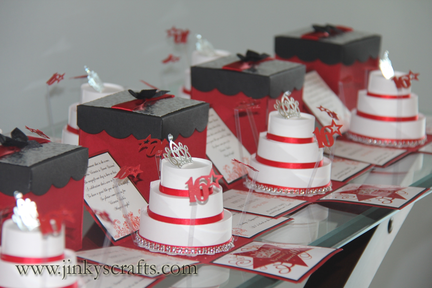 red  black  u0026 silver exploding box invitations
