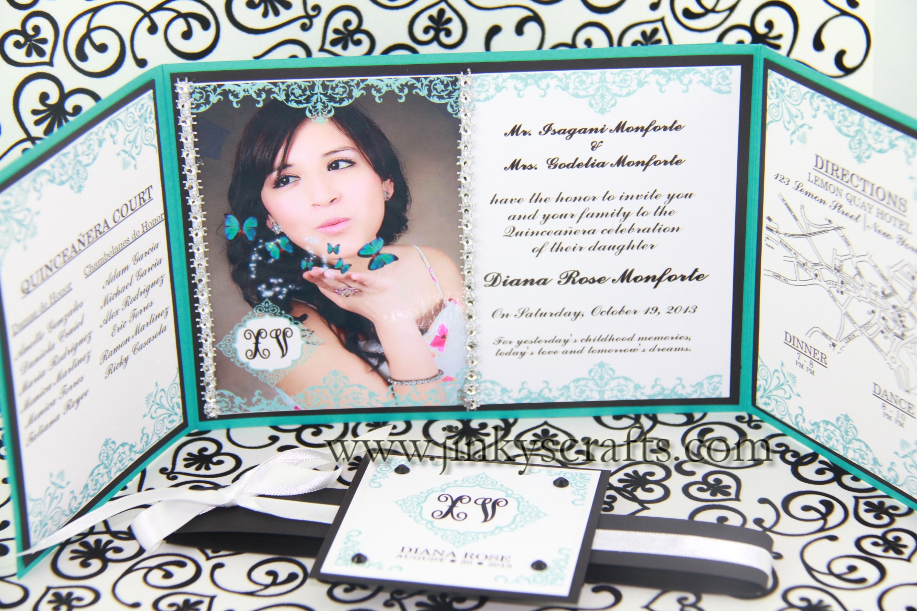 Tiffany Inspired Quinceañera Invitations, Sweet Sixteen Tiffany Themed Invitations