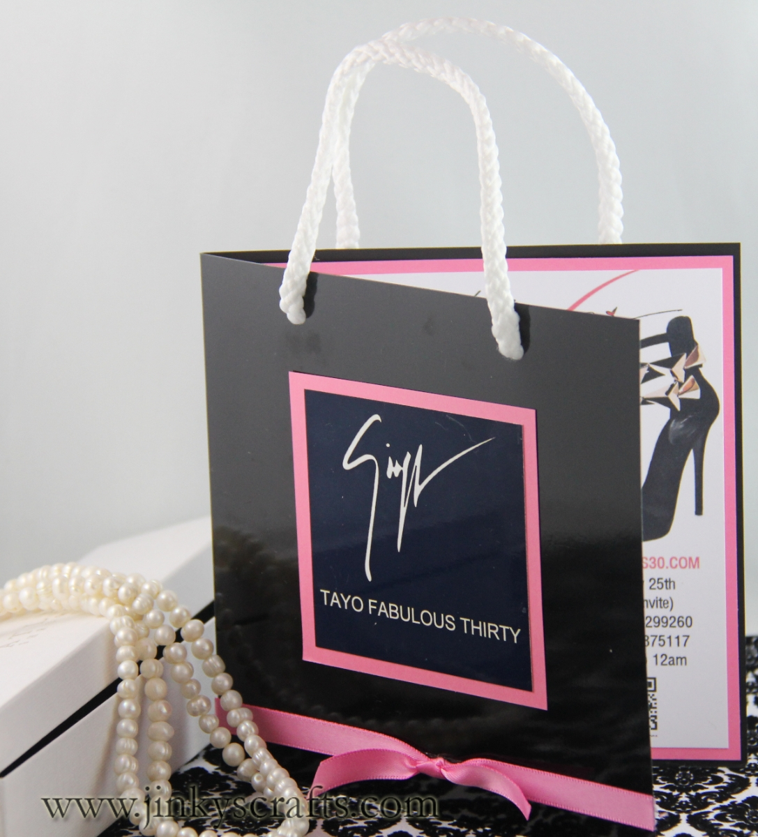 Designer Bag Invitation (Pink & Black)