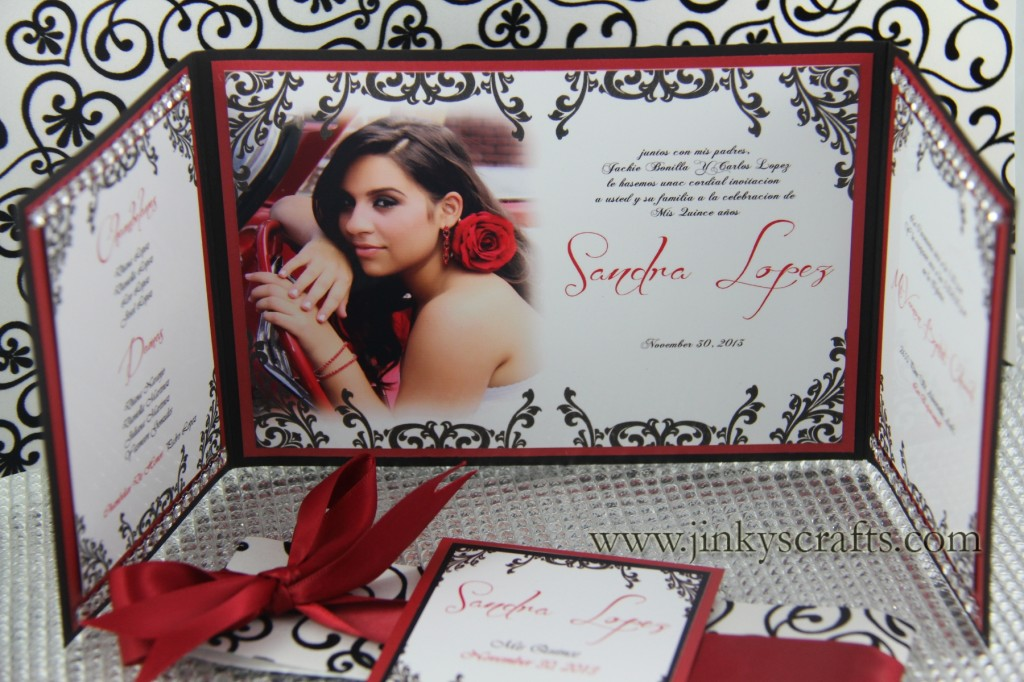 Hollywood Theme Gatefold Card Quinceañera Invitation