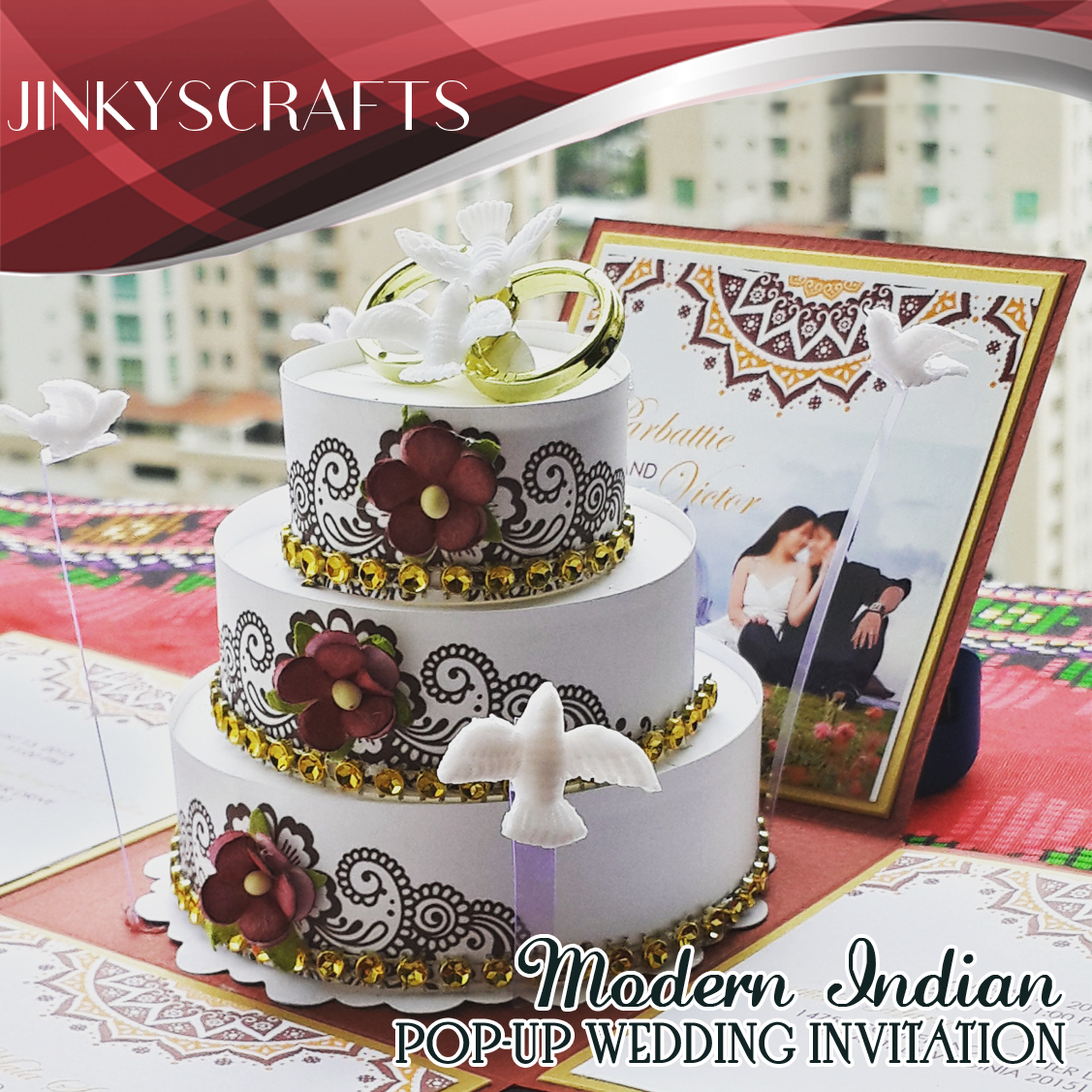 Modern Indian Wedding Pop-Up Invitations - Jinkys Crafts