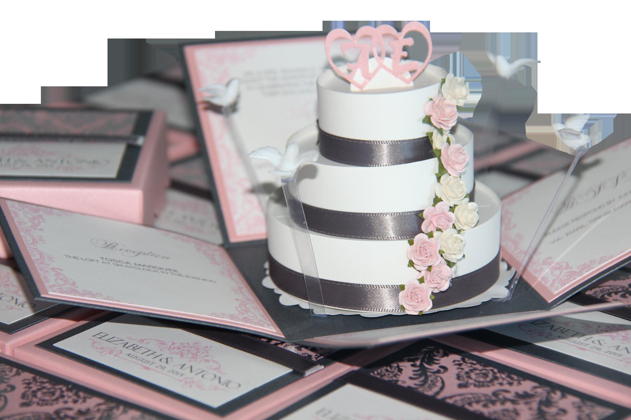 Pink Grey Exploding Box Invitations - Jinkys Crafts