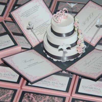 Home jinkys crafts pink grey exploding box invitations solutioingenieria Gallery