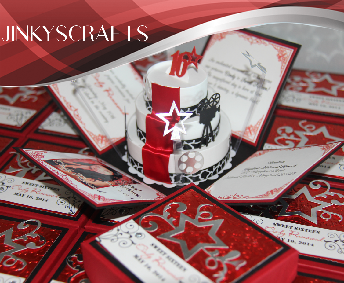 Hollywood Red Carpet Pop Up Invitations - Jinkys Crafts