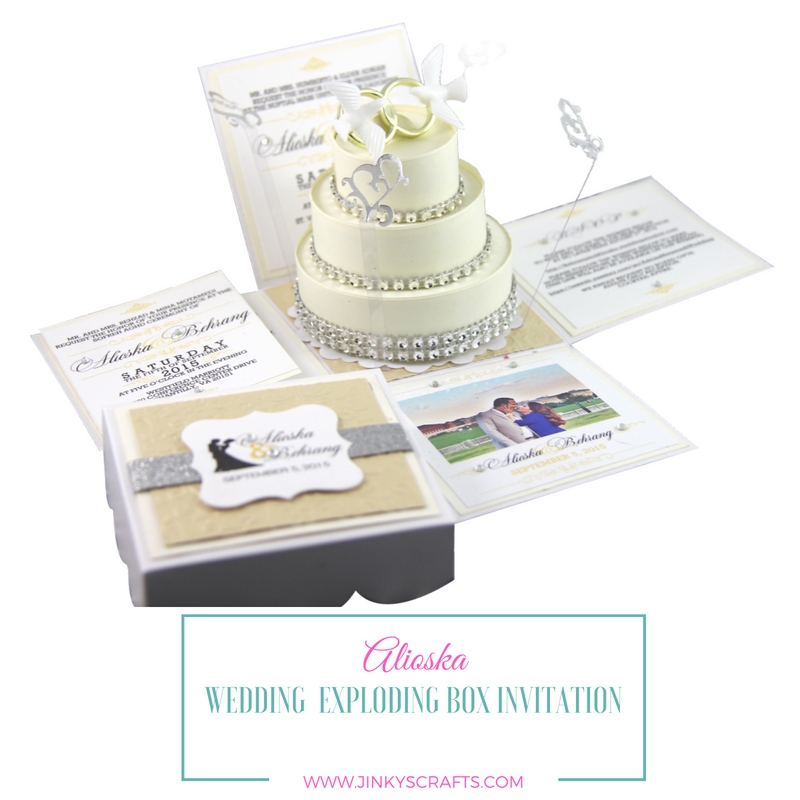 Alioska Exploding Box Wedding Invitation With 3 Tier Cake