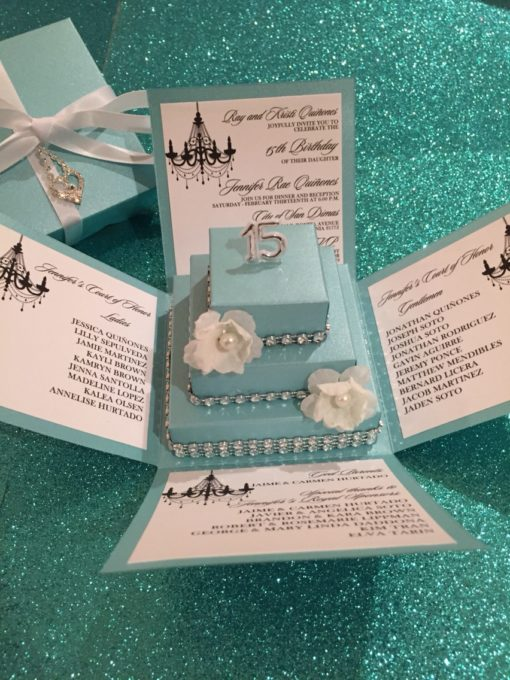 Tiffany blue exploding box w square cake diy kit jinkys for Affordable wedding invitations near me