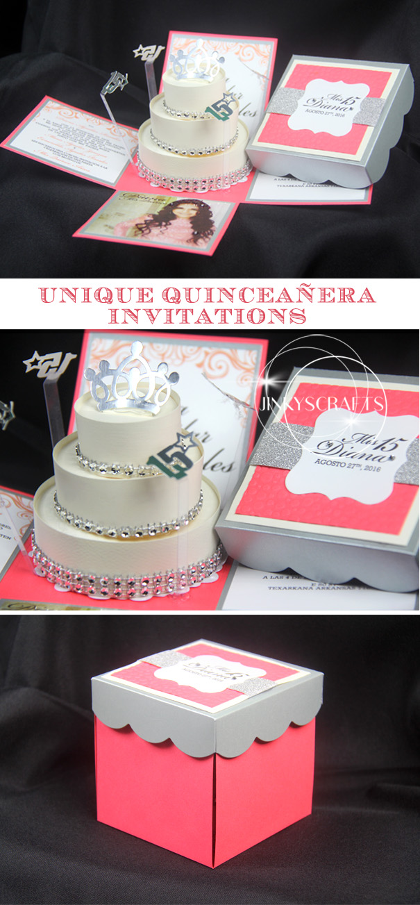 Diana Coral Silver Quinceanera Invitations Jinkys Crafts