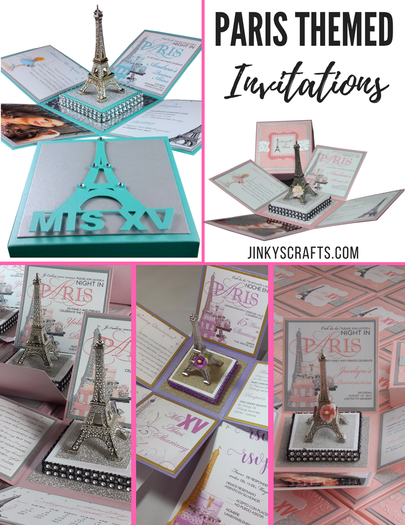 Paris themed invitations with eiffel tower jinkys crafts paris themed birthday invitations filmwisefo Gallery