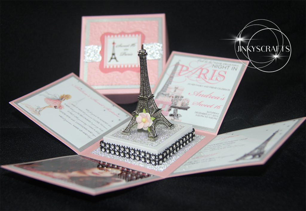 Blush eiffel tower exploding box invitation jinkys crafts paris themed invitation eiffel tower invitation parisian invitation filmwisefo