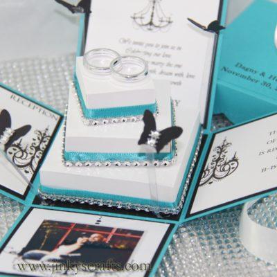 Creative Wedding Box Invitation with 3-Tier Cake