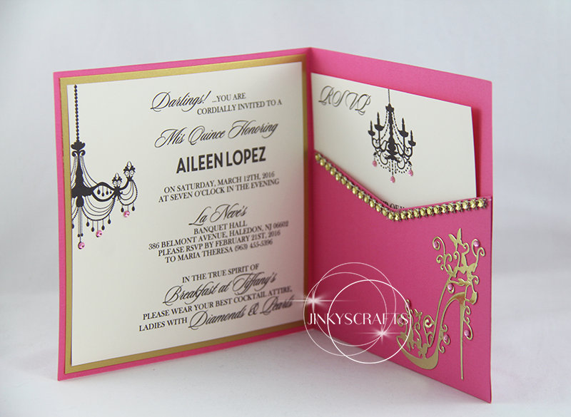 Elegant Pink Square Pocketfold Invitation Jinkys Crafts