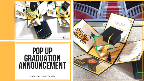 Graduation Announcement Exploding Box W 3D Books
