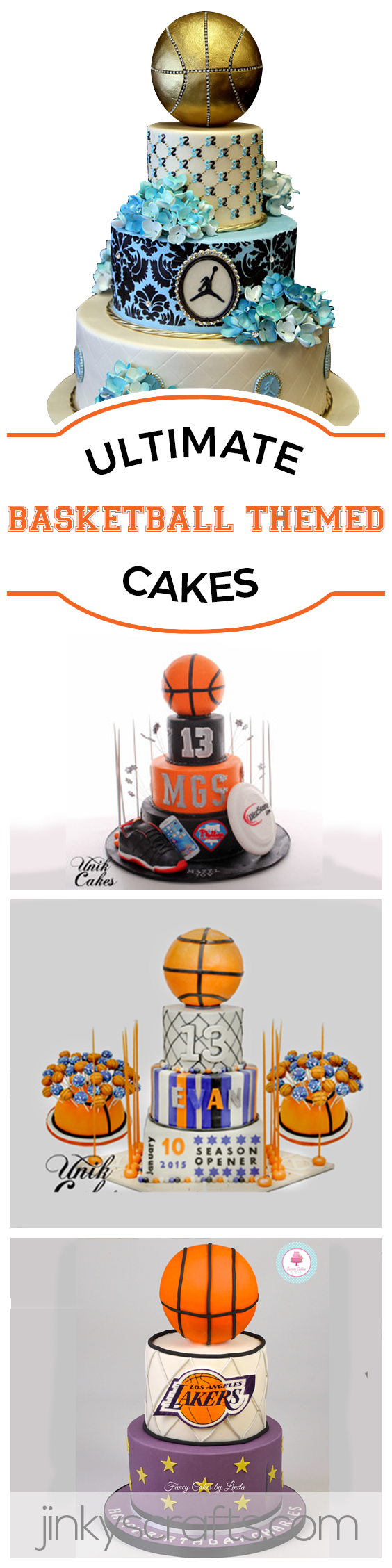 Basketball Themed Invitations + Cakes Ideas for Quinceanera, Baby ...
