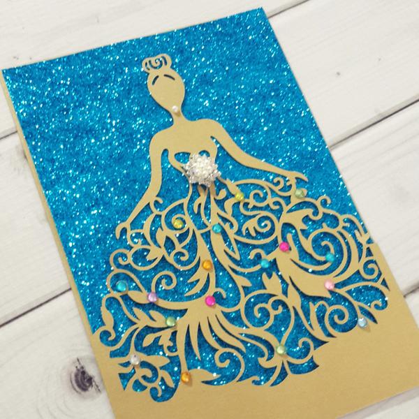 Cinderella Dress Laser Cut Invitation - Jinkys Crafts