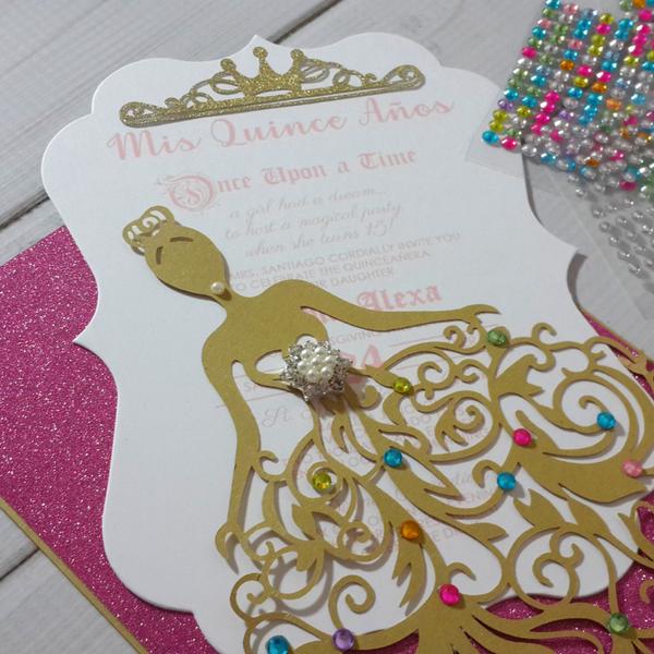 royal princess dress laser cut invitation