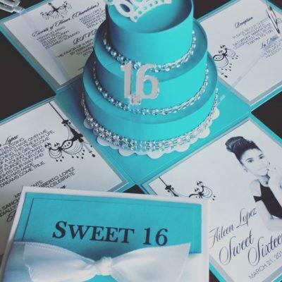 Aileen Tiffany Exploding Box Invitations W Round Cake