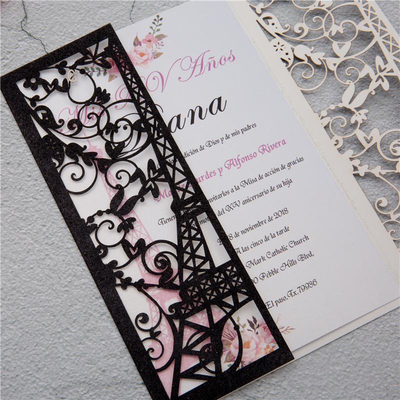 Glitter Eiffel Tower Laser Cut Invitation