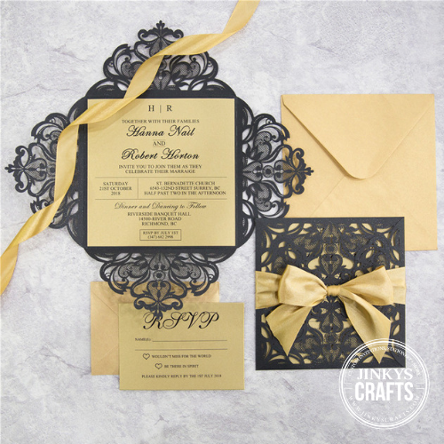 Wedding Invitation Diy Kits: 4 Flap Laser Cut Wedding Invitation Suite
