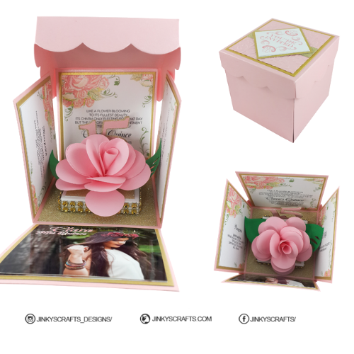 Blush Exploding Box With 3D Rose Pop Up Invitation